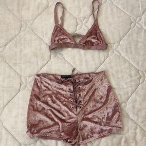 Kendall   Kylie Shorts - Blush Pink velvet Bra and Shorts set aba55077f